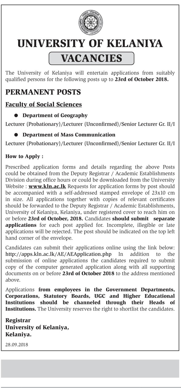 Lecturer, Senior Lecturer - University of Kelaniya - Gazette